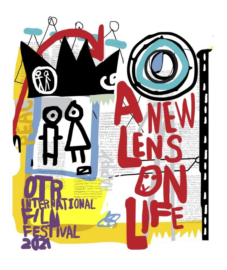 "Colorful art piece in red, blue, yellow and black that says ""A New Lens On Life"""